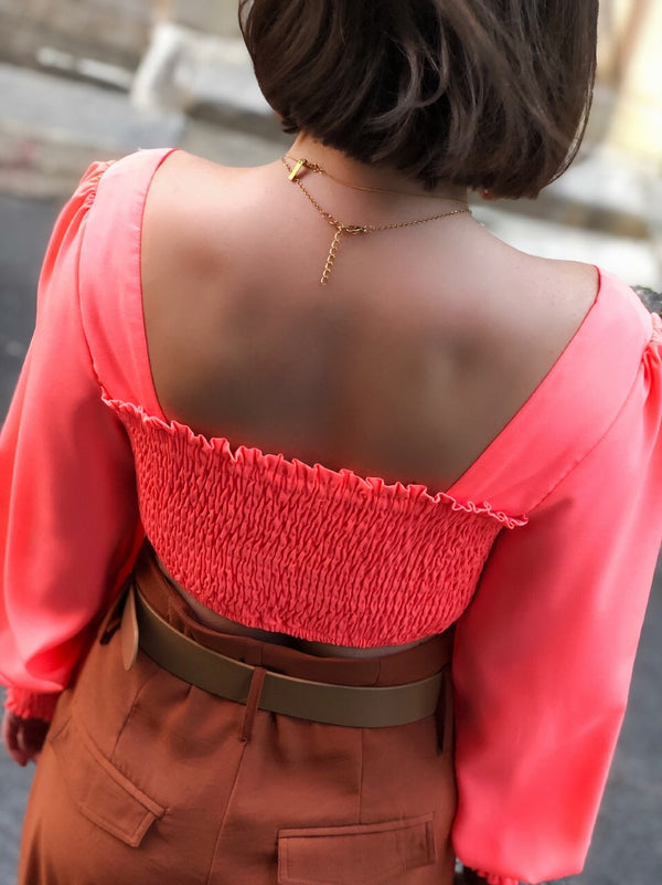 Lou Neon Pink Smock Puff Sleeve Crop Top-top-wild honey-AMQN Boutique