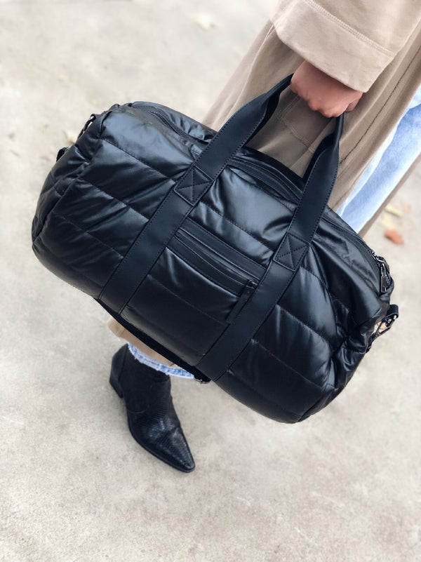 Powerplay Black Pillowy Quilted Duffle Bag - Urban Fit by Urban Expressions - amannequin - amannequin