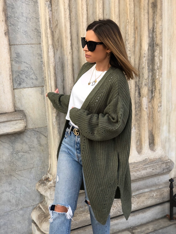 Luca Slouchy Knit Cardigan - Olive-Sweater-hyfve-AMQN Boutique