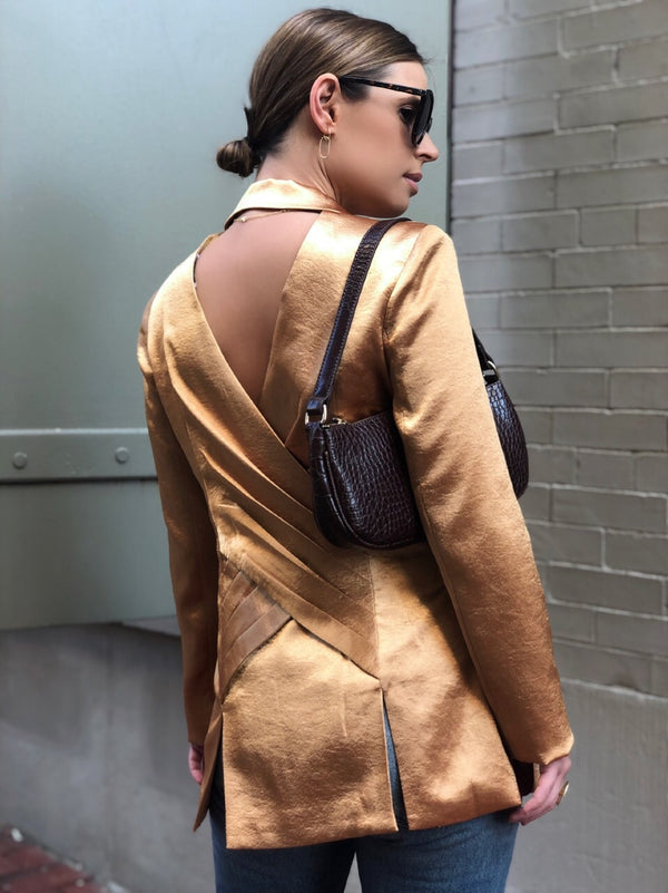 Salma Satin Open Back Blazer - Gold-jacket-Current Air-AMQN Boutique