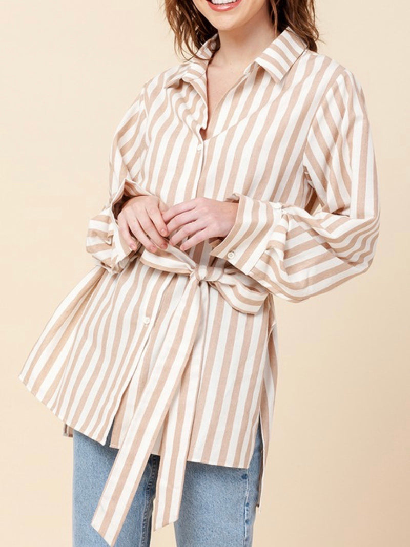 Lots of Love Striped Button Down Shirt