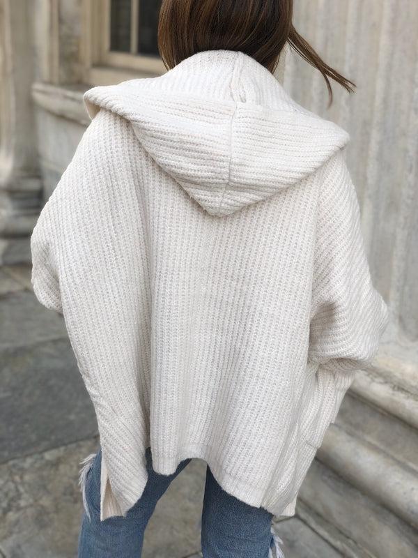 Willow Hoodie Cardigan Sweater - Cream - amannequin - amannequin