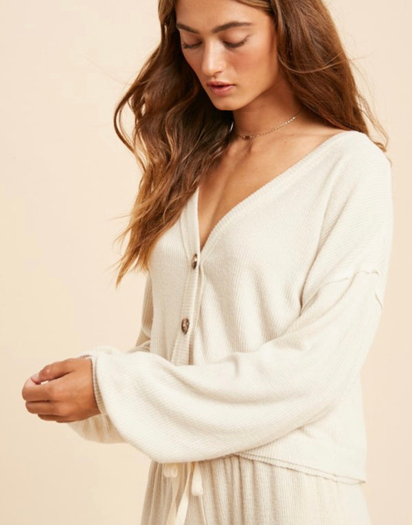 Catalina Rib Knit Puff Sleeve Top