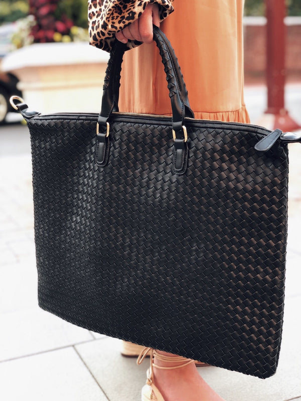 Ingrid Black Vegan Leather Oversized Tote Bag - amannequin - amannequin
