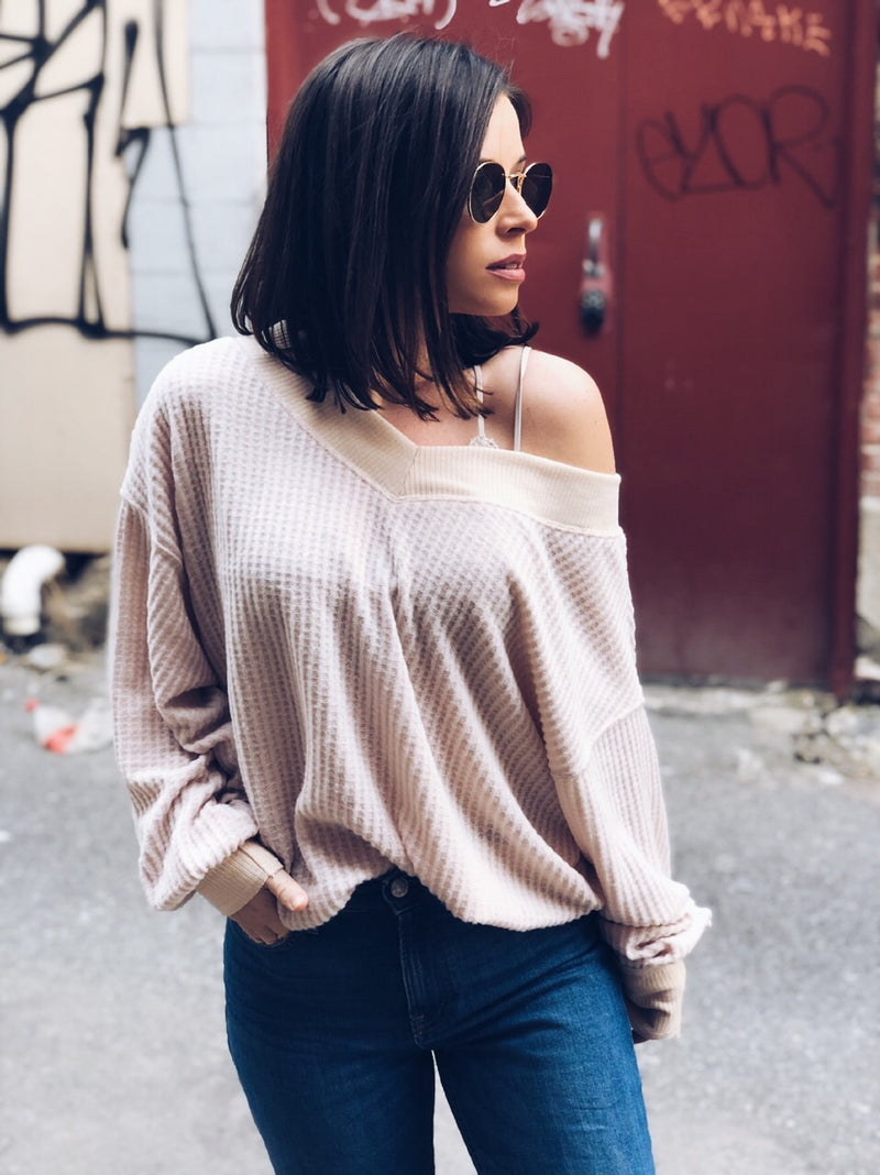 Mila Nude Waffle Knit off the Shoulder Top - amannequin - amannequin