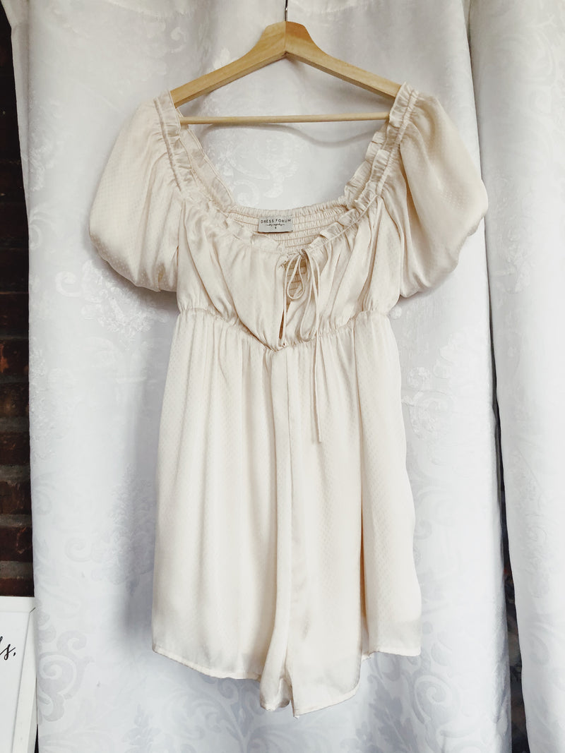 Myla Satin Baby Doll Pocketed Romper - Cream
