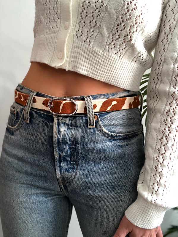 Marcella Calf Hair Leather Belt | Womens | Belts | amannequin
