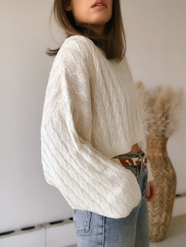 Nerissa Oversized Cropped Soft Knit Sweater | Cream