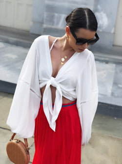 Dakota White Eyelet Trim Puff Sleeve Kimono Top - amannequin - amannequin