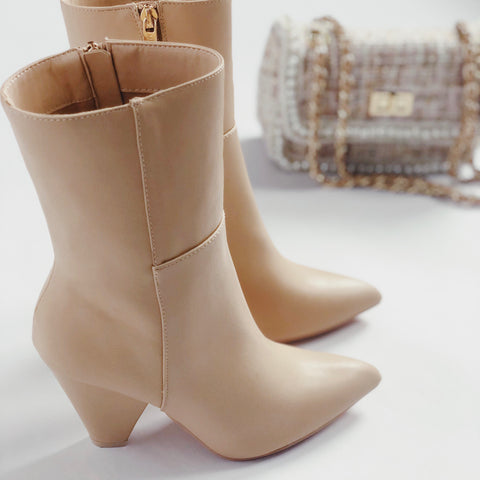 Halo Nude Pointy Toe Ankle Booties - FU Pretty, amannequin - amannequin