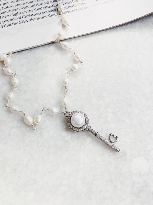 Hayden Pearl & Sterling Silver Rhinestone Key Charm Necklace-Necklace-Machu Picchu-AMQN Boutique