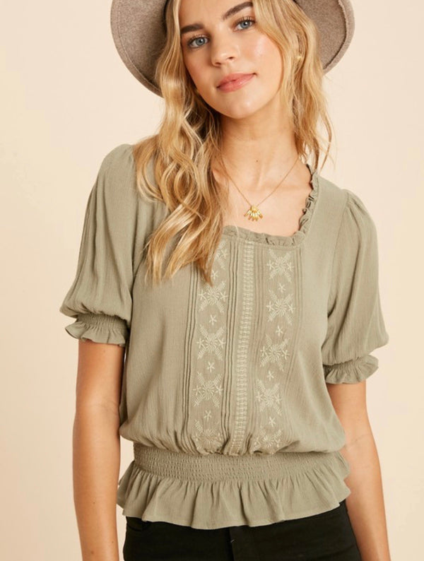 Elise Ruffled Square Neck Embroidered Top
