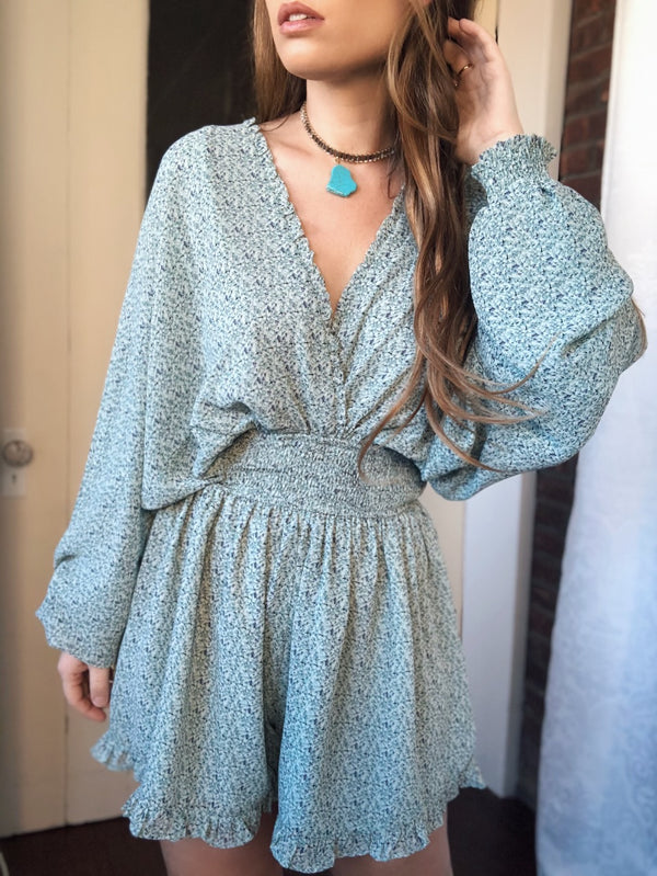 Briella Ruffled Puff Sleeve Romper - Green