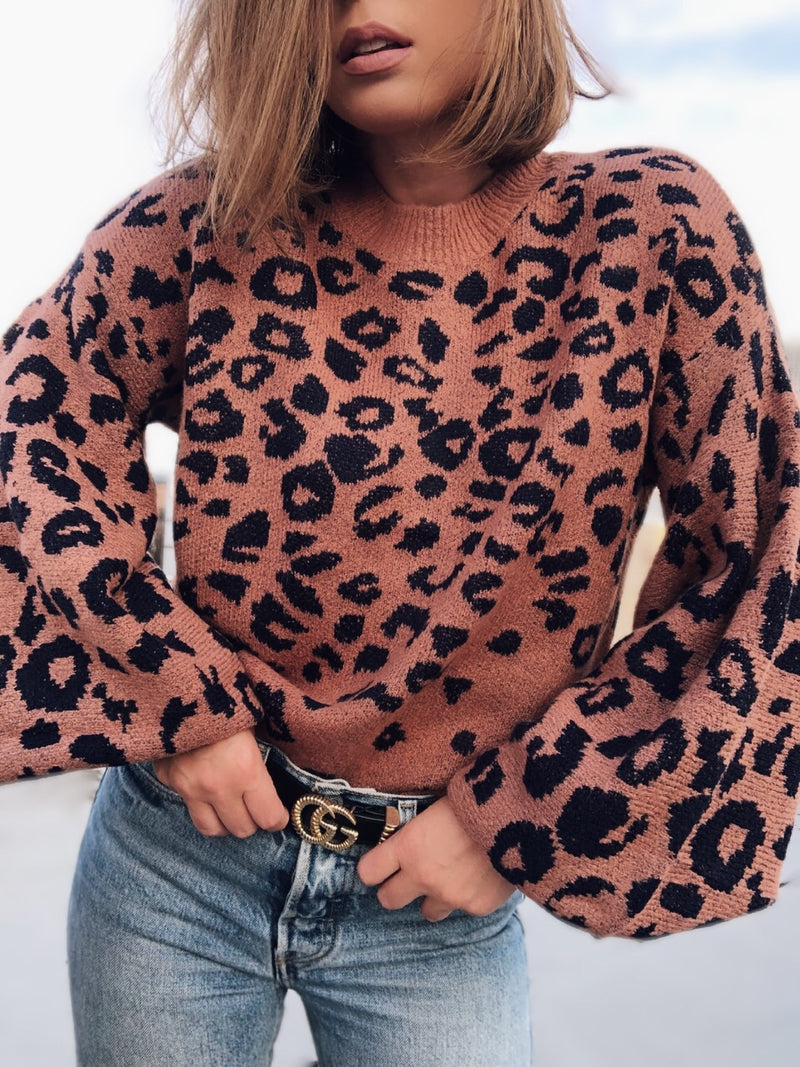 Lacey Leopard Print Puff Sleeve Sweater-Sweater-do + be-AMQN Boutique