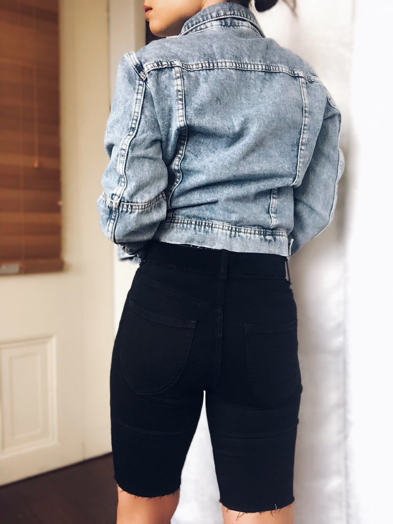 Free People So Chic Black Denim Biker Shorts - amannequin - amannequin