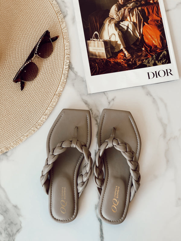 Marina Braided Leather Flip Flops | Taupe