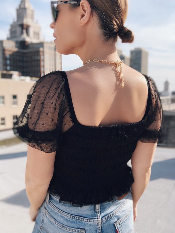 Gigi Smocked Sheer Puff Sleeve Top - Black | amannequin | amqn boutique