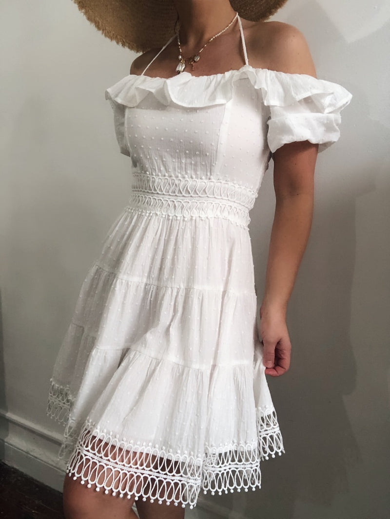 Wanderlust Eyelet Crochet Lace Puff Sleeve Halter Dress - White | Womens | Dresses | amannequin boutique