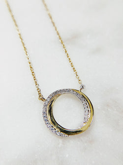 Infinite Possibilities Pave Circle Necklace - Sterling Silver - amannequin - amannequin