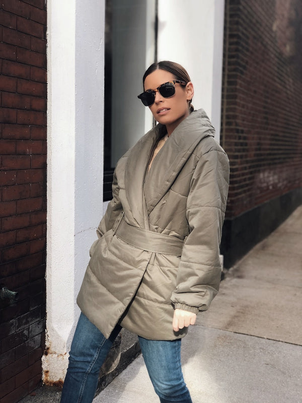 Karma Belted Puffer Coat - Olive Green-jacket-on twelfth-AMQN Boutique