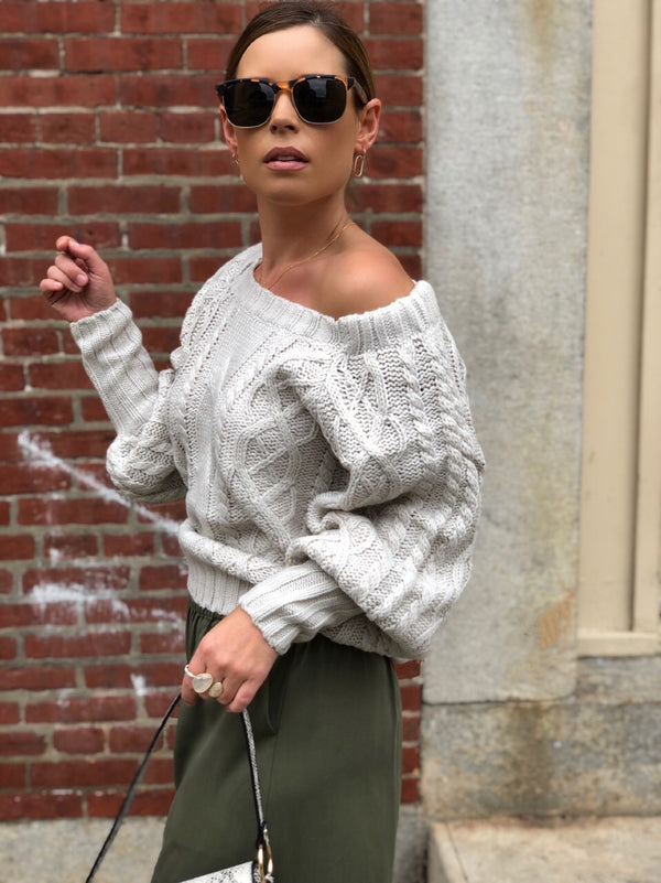 Tilda Cable Knit Puff Sleeve Sweater - Taupe - amannequin - amannequin