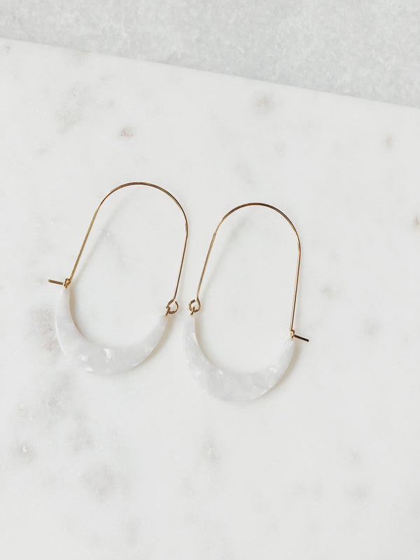 Jordan Resin Crescent Wire Hoop Earrings - Tortoise - amannequin - amannequin