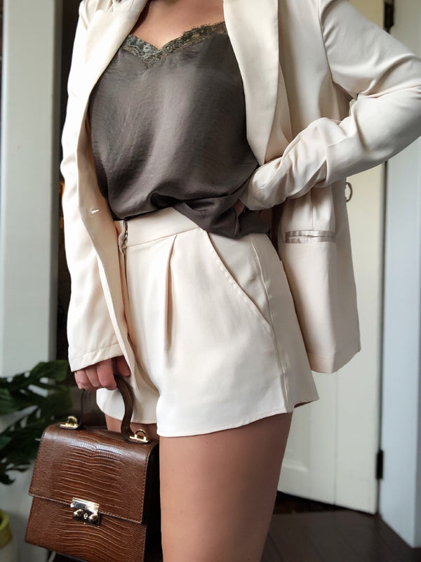 Maddox Nude Classic Tailored Suit Shorts - amannequin - amannequin