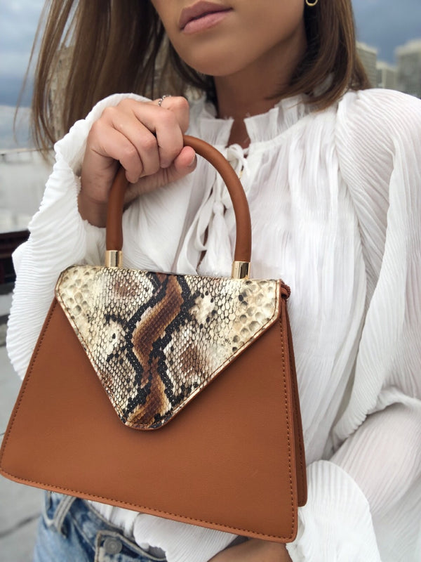 Willow Snakeskin Top Handle Bag - Brown - amannequin - amannequin