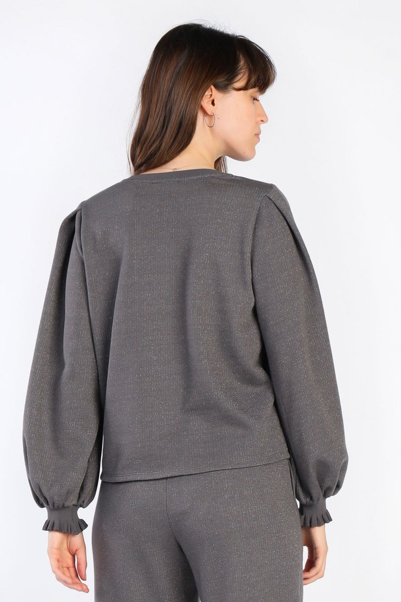 Dark N' Sparkly Shimmer Puff Sleeve Sweatshirt - Gray