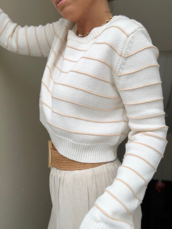 Lenox Striped Knit Cropped Sweater - Cream/Tan