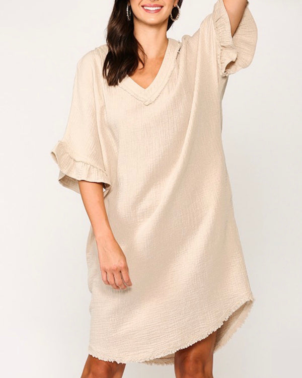 Skye Cotton Cover Up Dress - Beige