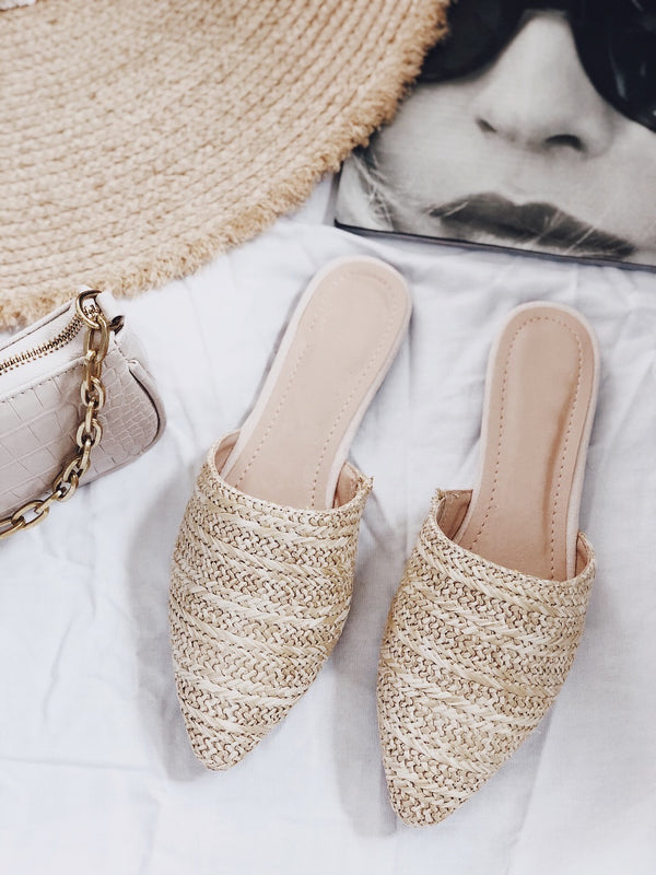 Soiree Natural Raffia Woven Loafer Slides | Womens | Shoes | amannequin