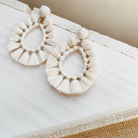 Abaco Ivory Raffia Drop Earrings - amannequin - amannequin