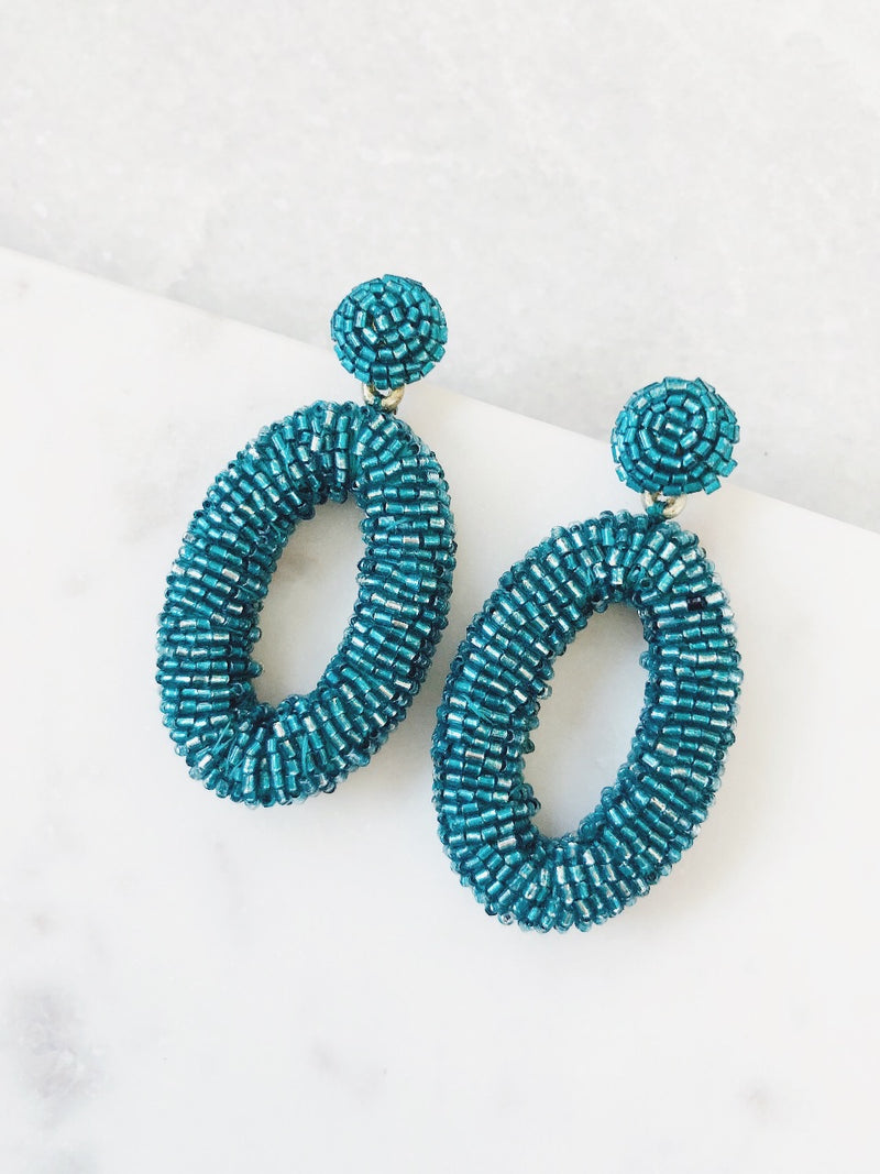 Sylvie Bead Oval Drop Earrings - amannequin - amannequin