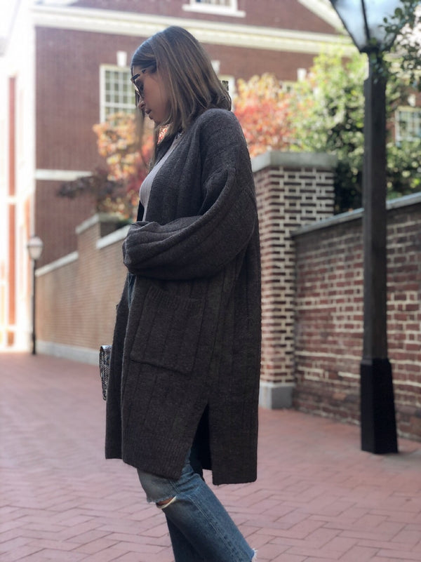 Madison Knit Puff Sleeve Cardigan - Chocolate - amannequin - amannequin