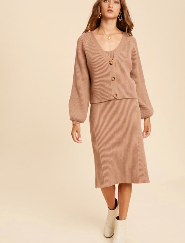 Alexis Rib Knit Cardigan & Dress Set