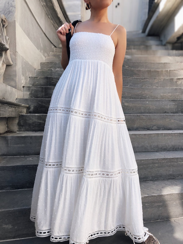 Vivien Eyelet Maxi Dress - White