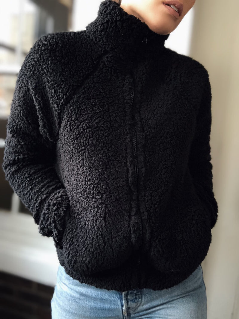Ioana Sherpa Fleece Zip Up Teddy Jacket - Black - amannequin - amannequin