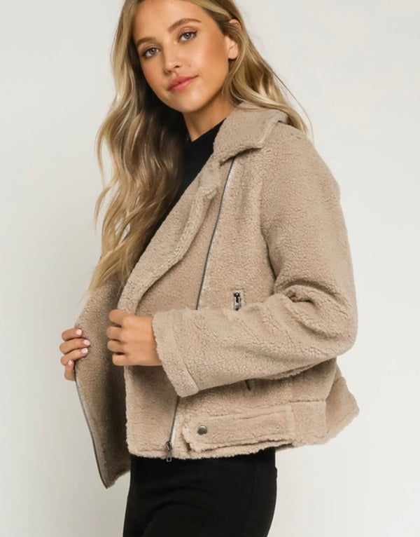 Reese Teddy Moto Jacket - Taupe