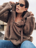 Riri Chocolate Brown Oversized Teddy Faux Fur Plush Hoodie - amannequin - amannequin
