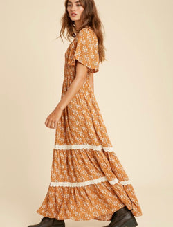Remi Ditsy Floral Maxi Dress - Rust