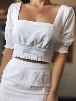 Seaside White Puff Sleeve Crop Top - amannequin - amannequin