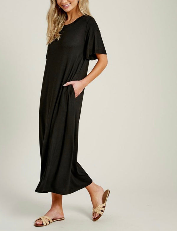 Jena T-Shirt Maxi Dress - Black
