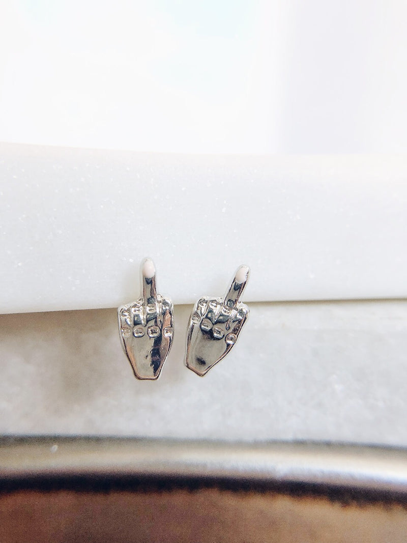 FU Pretty Middle Finger Earrings - amannequin - amannequin
