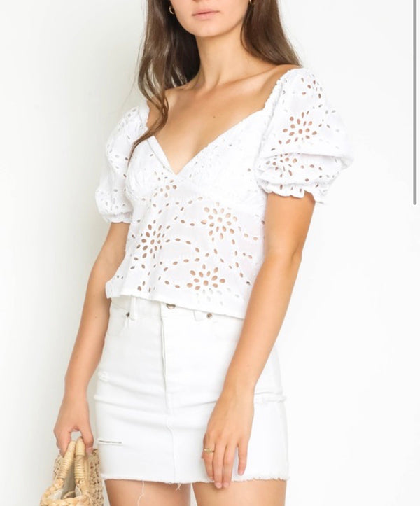 Eleanor Eyelet Top - White
