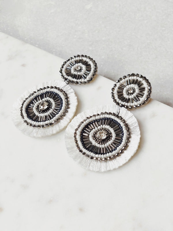 Lucy Two Drop Circle Bead Earrings - White & Silver - amannequin - amannequin