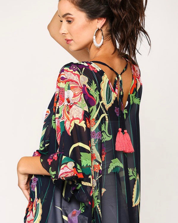 Shiloh Floral Sheer Cover Up Kimono - Navy