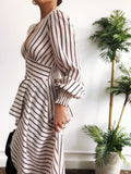 Dean Striped Puff Sleeve High Low Duster Top - amannequin - amannequin