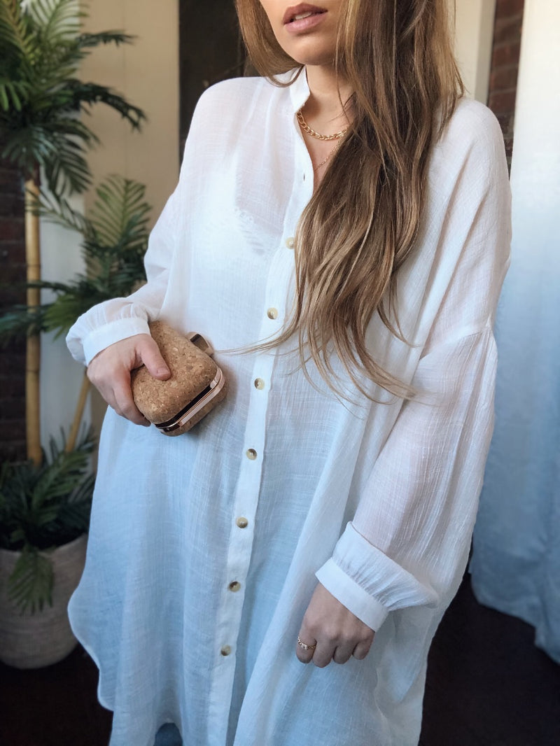 Not Your Boyfriends Button Down Shirt - White