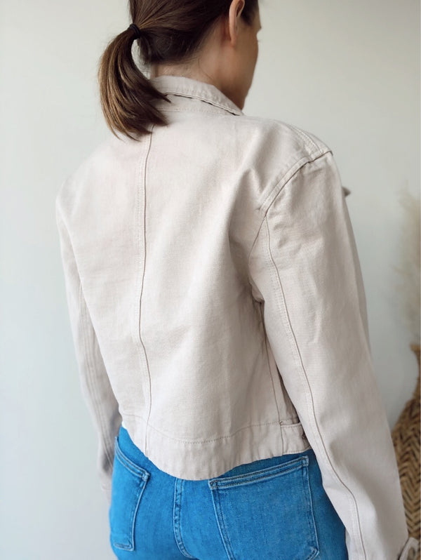 Laurel Cotton Cropped Jacket | Beige